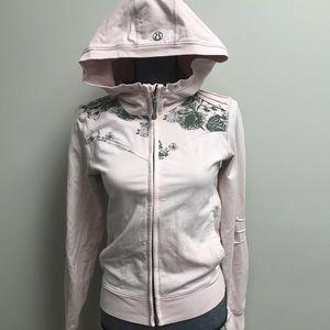 Lululemon baby Pink Floral Hoodie Zip Up Jacket